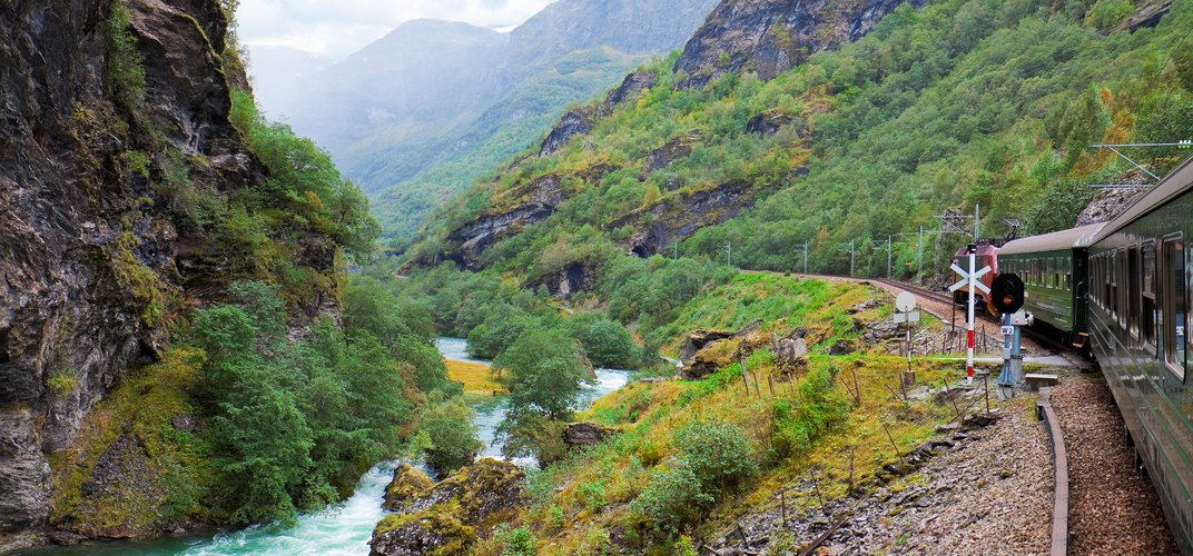 The famous Flam Railroad amid Norway's dramatic landscape
