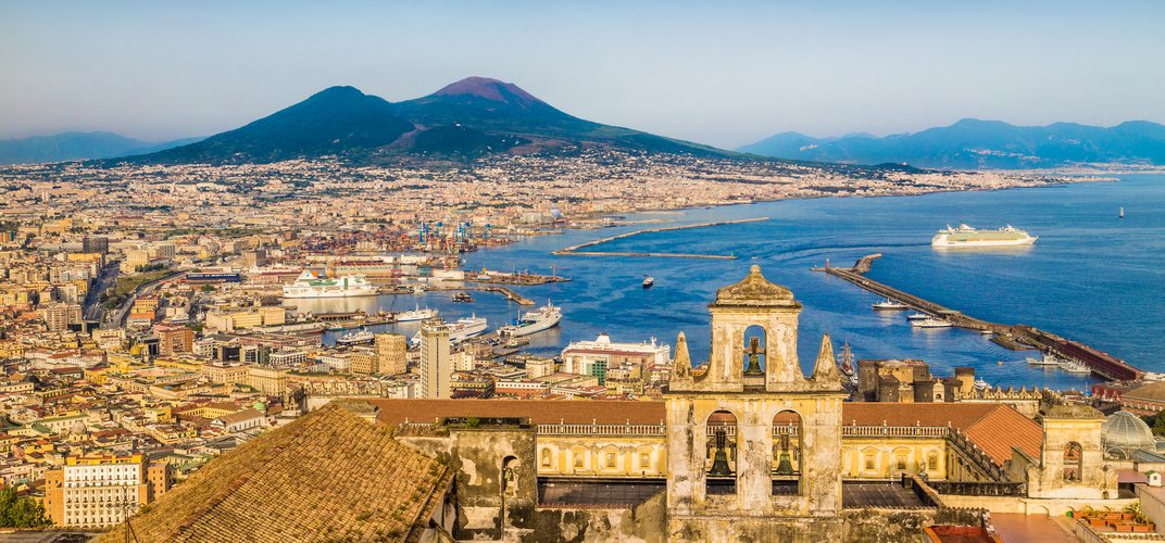 City of Naples with Mt. Vesuvius on the horizon
