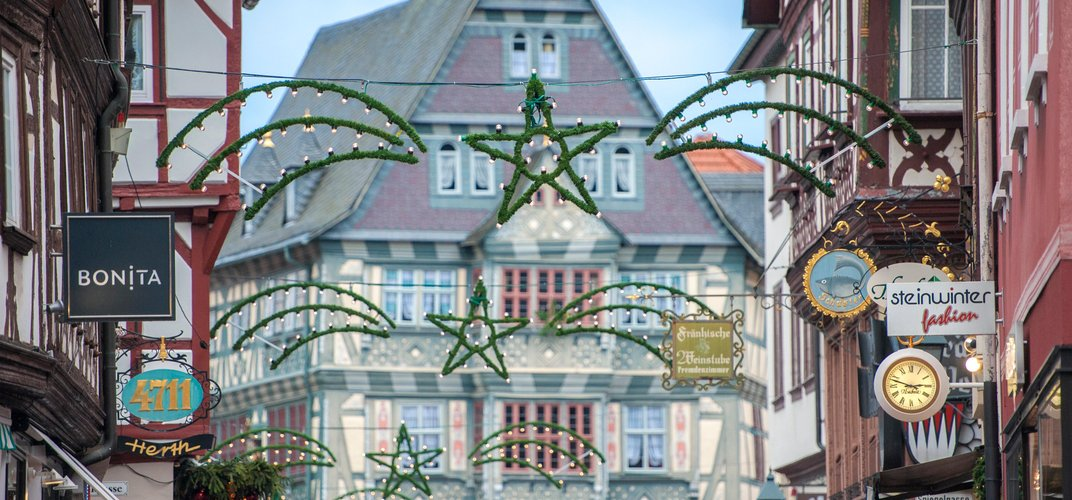 Holiday decorations in Miltenberg. Credit: Creative Sparks Imagery / DanitaDelimont.com