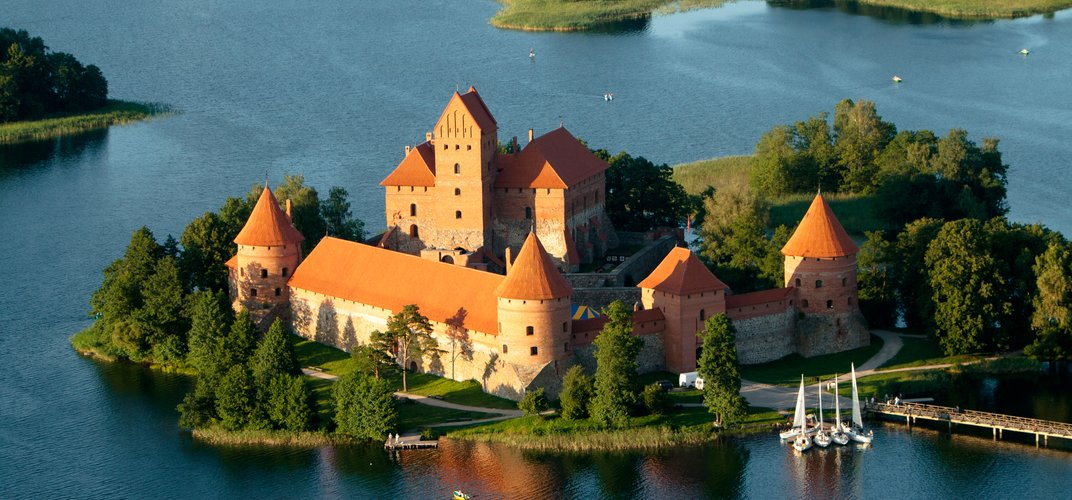 A medieval castle in Trakai, Lithuania