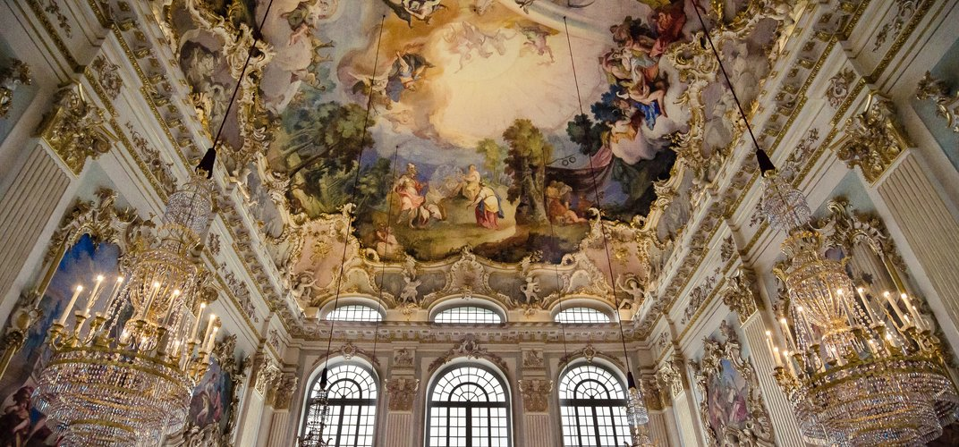 The baroque interior of Nymphenburg Palace, Munich