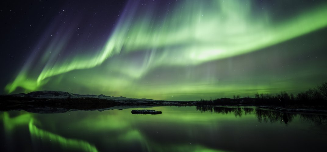 View of the Northern Lights in Iceland
