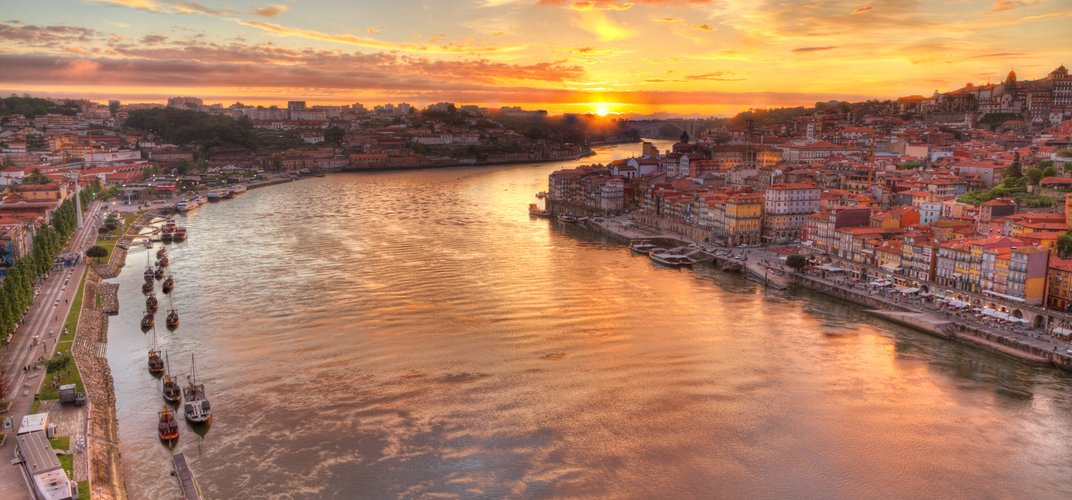 Sunset over the Douro River, Oporto
