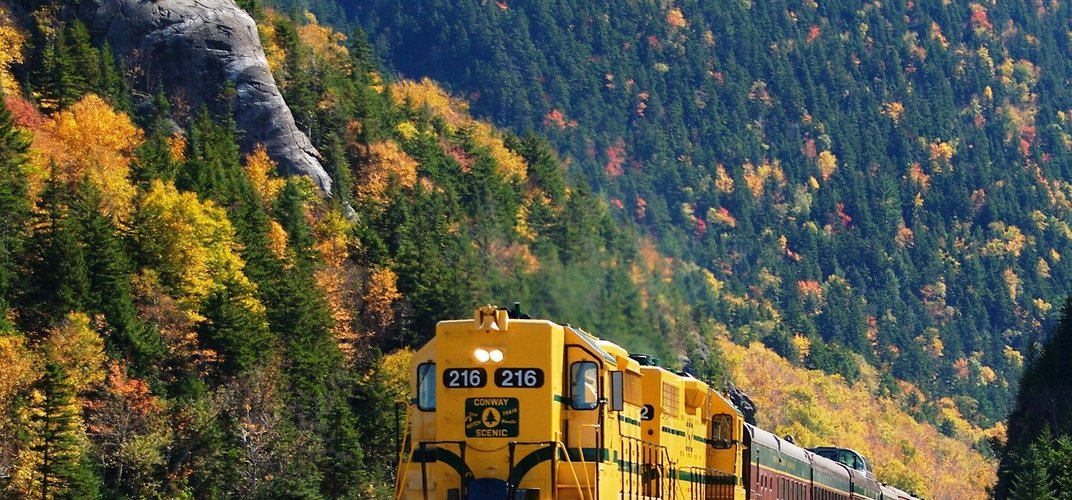 The Conway Scenic Railway travels through Crawford Notch in New Hampshire's White Mountains. Credit: Debbe Hill