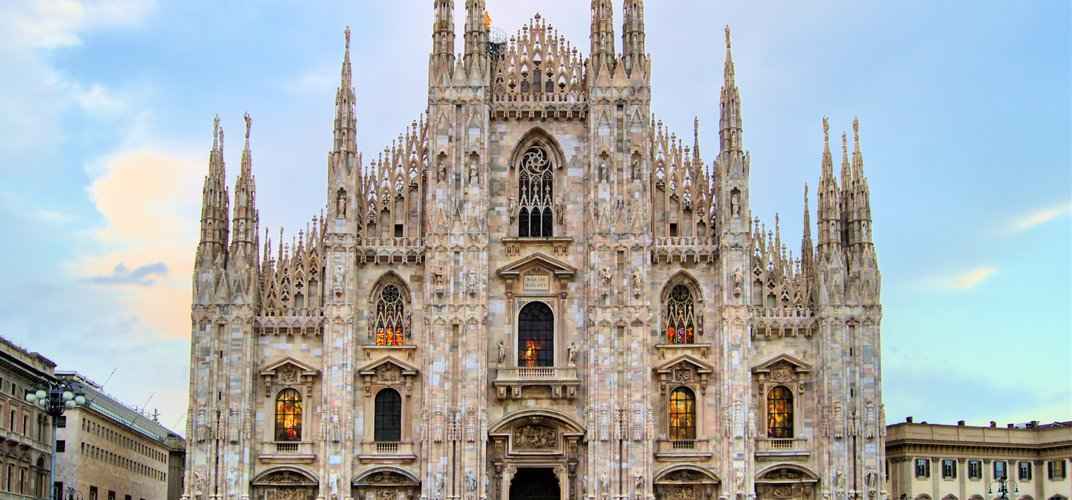 The ornate Gothic cathedral of Milan