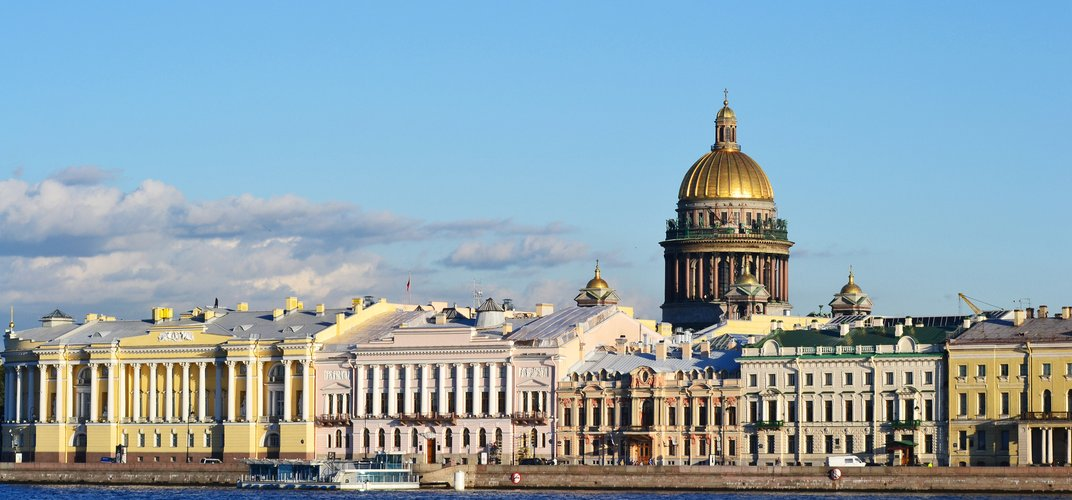 View of St. Petersburg from the Neva River, with the dome of St. Isaac's Cathedral