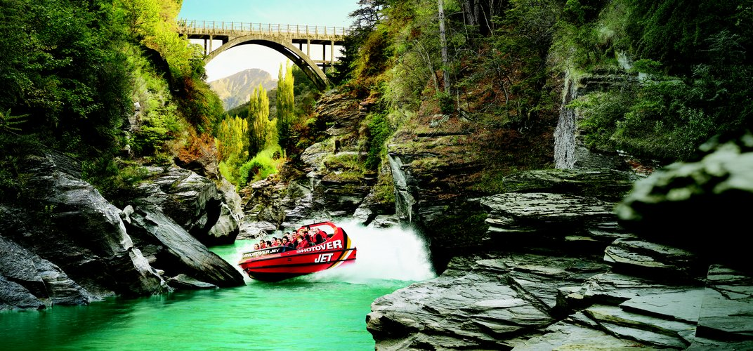 The excitement of the Shotover Jet, near Queenstown. Credit: Tourism New Zealand