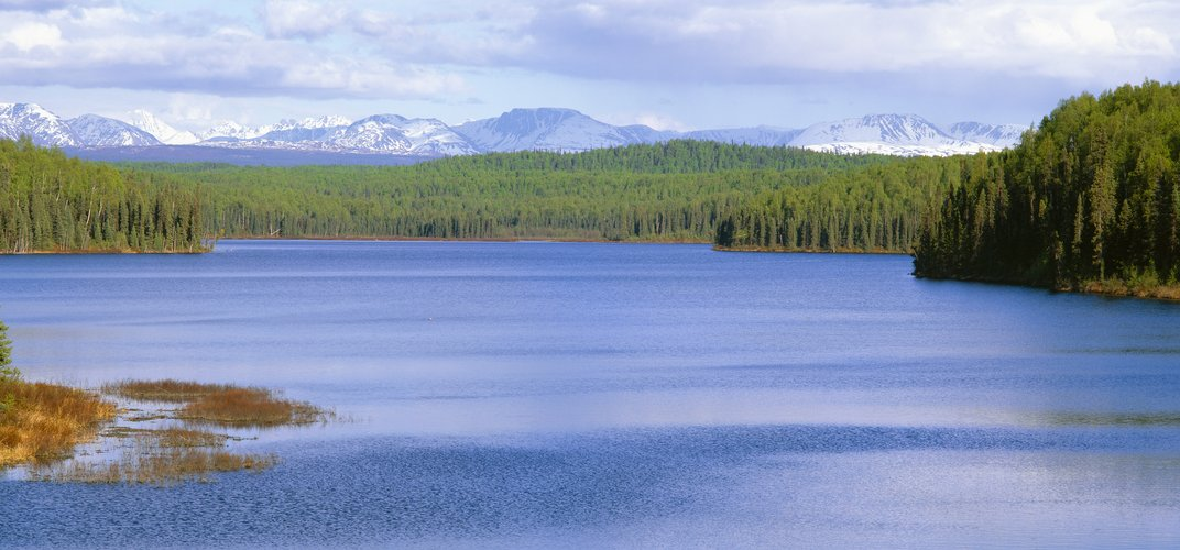 Talkeetna Lake with mountains in the distance