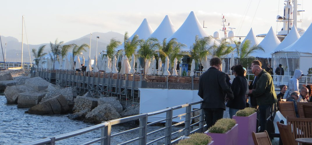 Each country pavilion at the Cannes Film Festival has a seaside terrace
