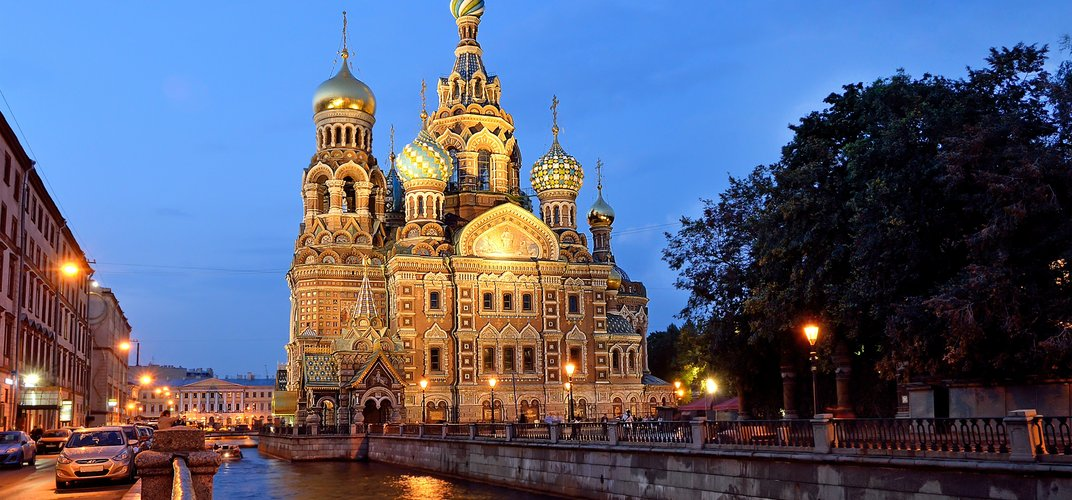 The Church of the Savior on Spilled Blood, along a canal in St. Petersburg
