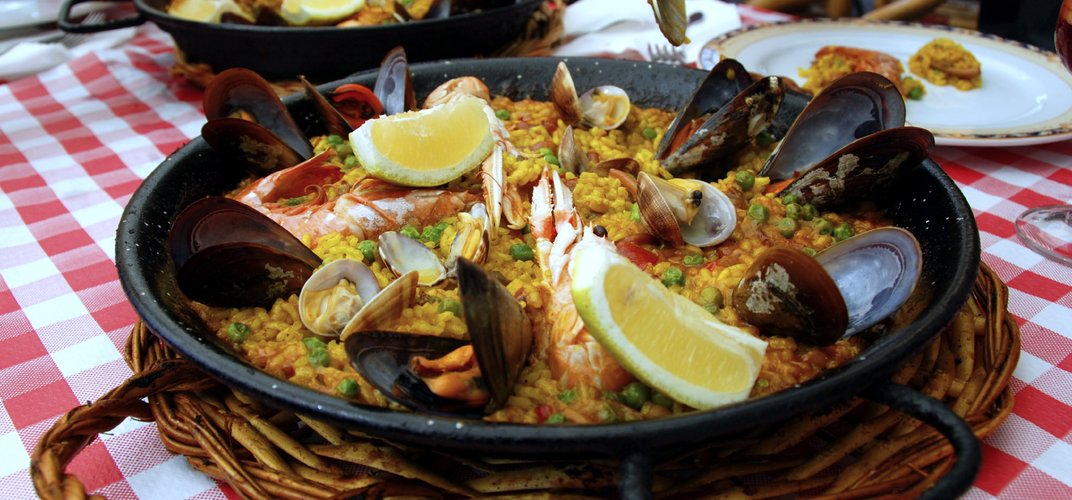 Seafood paella, a Spanish specialty