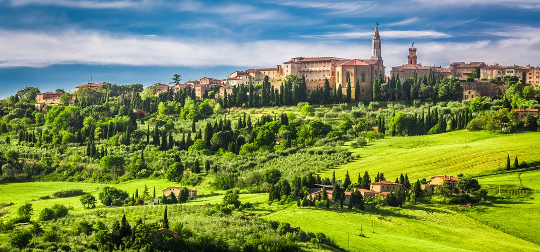 View of the Tuscan hill town of Pienza