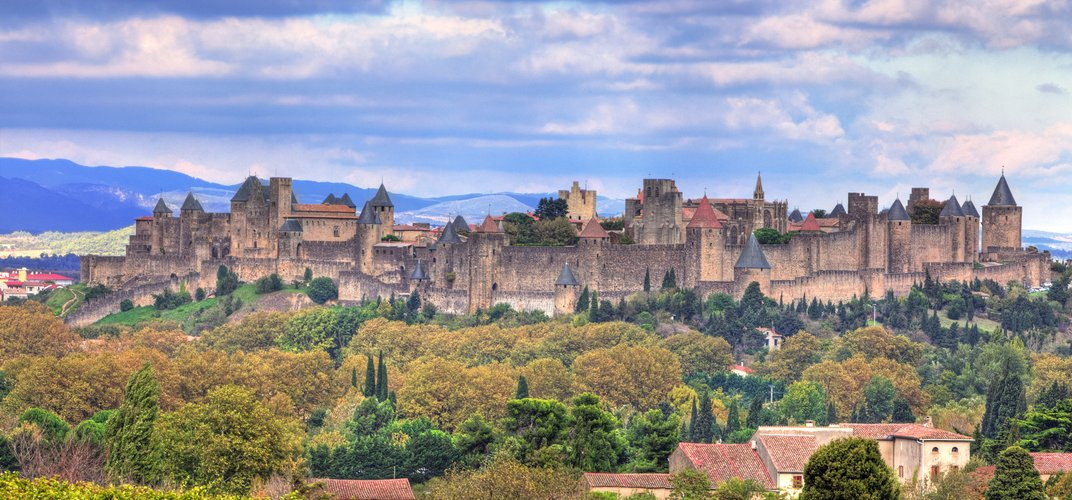 The medieval city and castle of Carcassonne, showcasing some of the best preserved fortifications in Europe