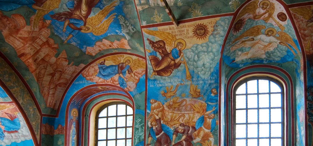 Rich frescoes in the Church of Elijah the Prophet, Yaroslavl