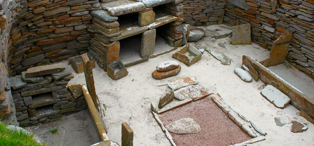 A Neolithic stone house at Skara Brae, Orkney Islands