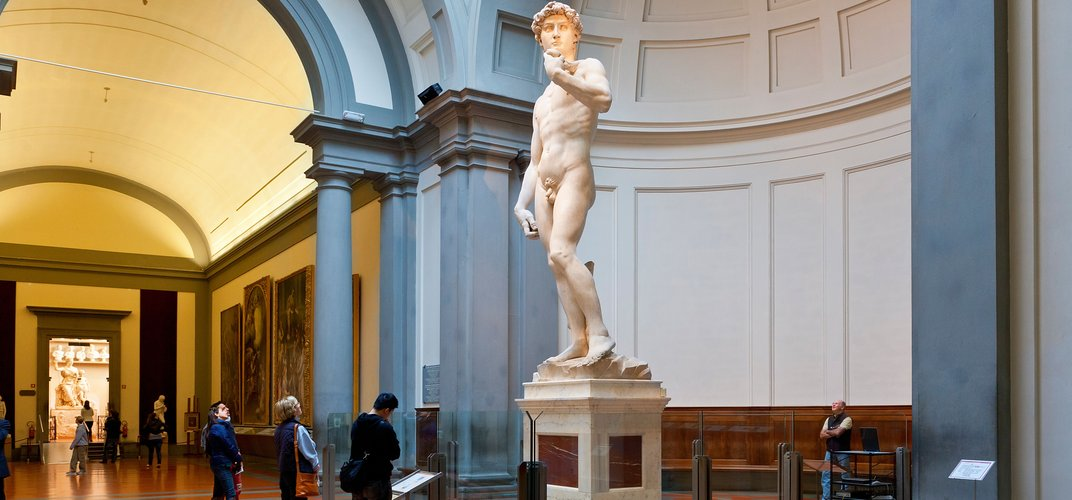 Michelangelo's <i>David</i>, the centerpiece of the Accademia. Credit: John Kellerman/Alamy