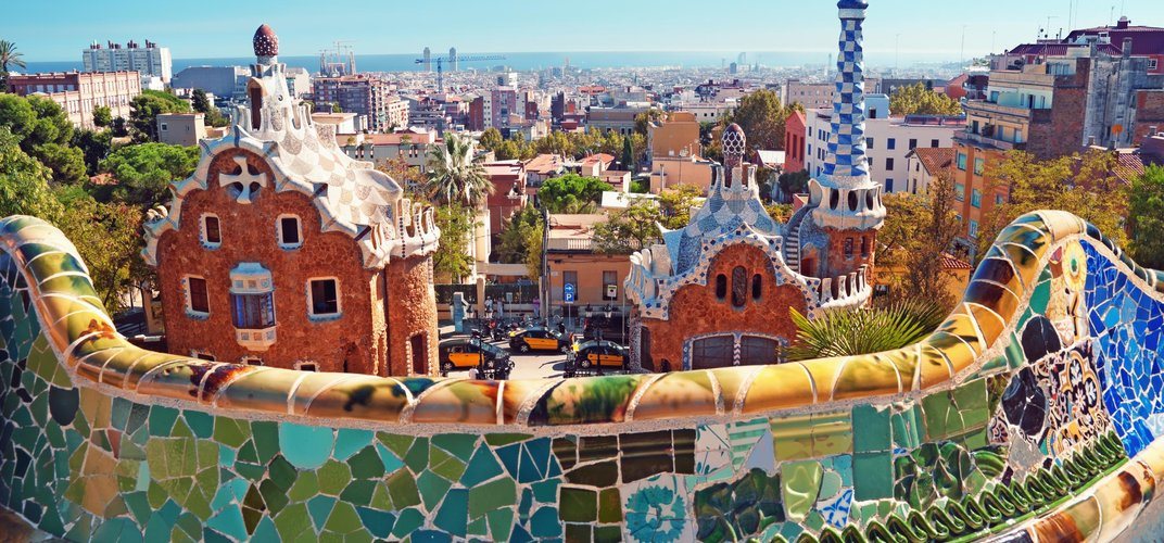 Vista from Gaudi's Parc Guell in Barcelona