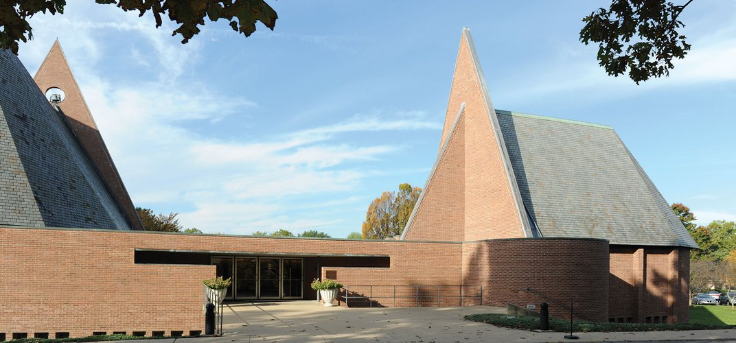 Completed in 1965, the First Baptist Church was designed by Harry Weese. Credit: Columbus Area Visitors Center