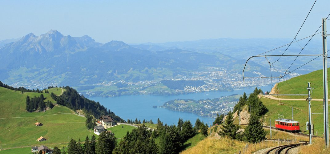 View of Lake Lucerne, the town of Lucerne, and Mt. Pilatus in the distance