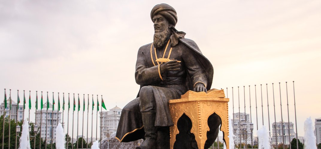 Statue of Magtymguly, Independence Monument, Ashkhabad, Turkmenistan