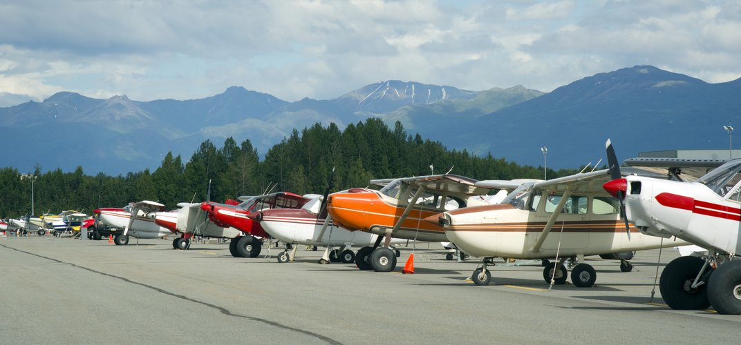 Bush planes at the Anchorage airport