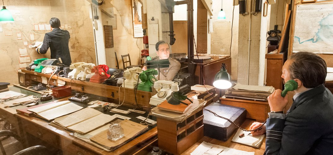 Exhibit in the Churchill War Rooms in London. Credit: Alex Segre/Alamy