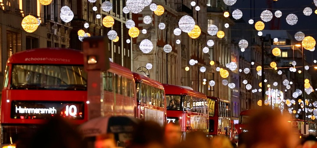 London street decorated for the holidays. Credit: VisitLondon.com