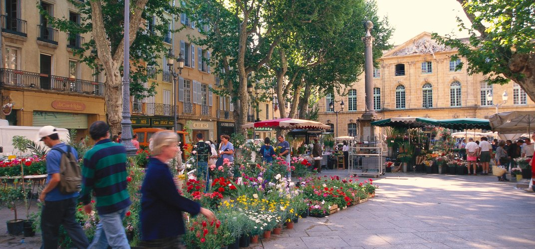 Typical flower market and charming square in Aix-en-Provence Credit: Sundrenched Gardens/Alamy