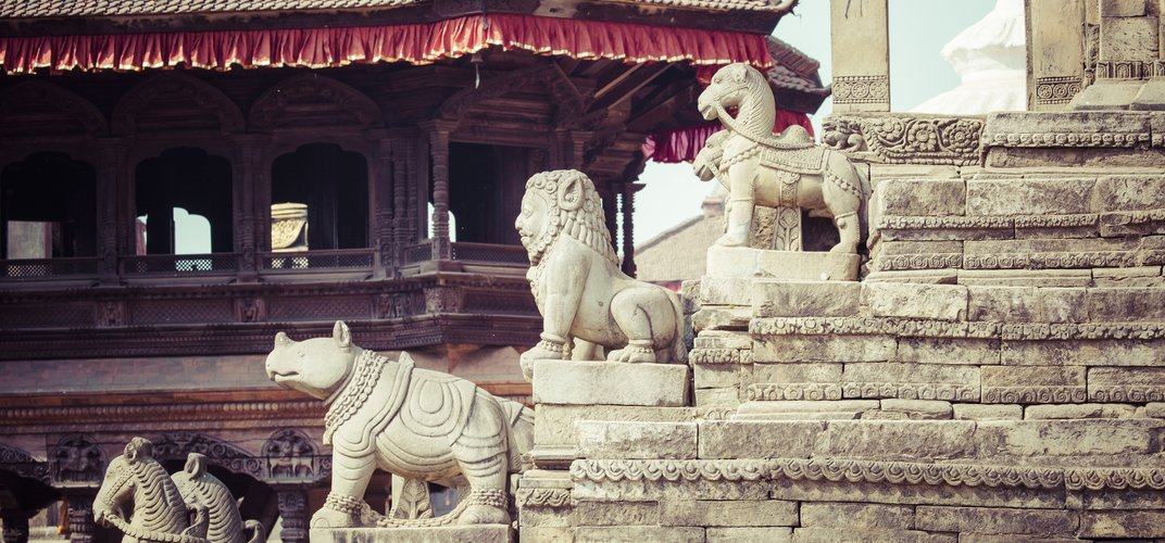 Sculpture at the temple in Bhaktapur, Nepal
