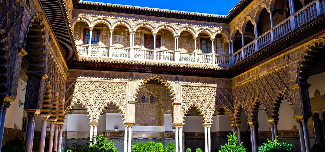 A courtyard in the Alcazar, or Royal Palace, in Seville