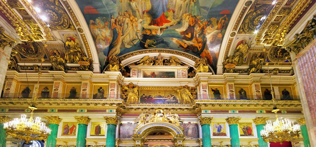 The magnificent interior of St. Isaac's Cathedral, St. Petersburg