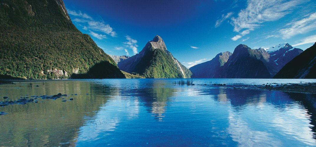 The dramatic Milford Sound with Mitre Peak in the center. Credit: Rob Suisted/Tourism New Zealand