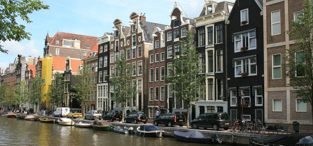 Traditional canal houses in Amsterdam