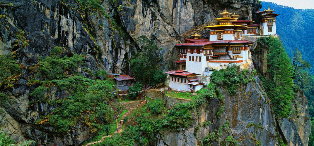 The final pathway up to Taktsang Monastery, or Tiger's Nest, in Bhutan