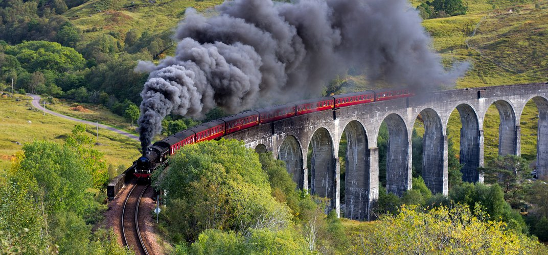 The Jacobite steam train, traveling from Fort William to Mallaig