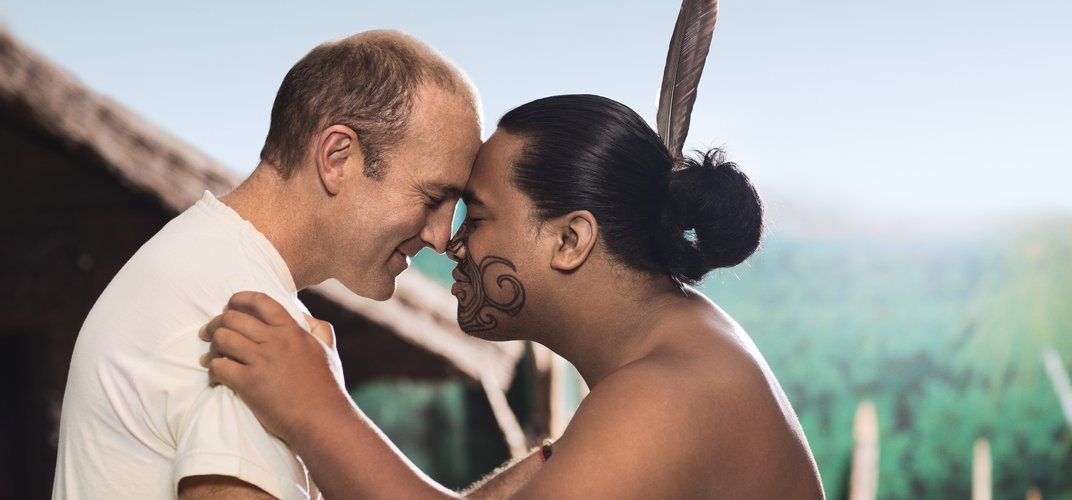Traditional Maori greeting, or <i>Hongi</i>. Credit: Chris SisarichTourism New Zealand