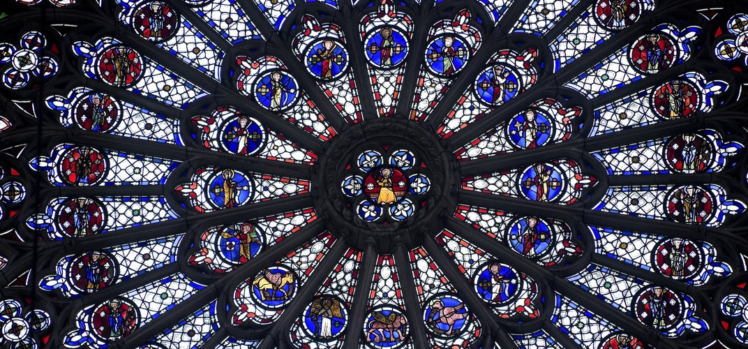 Stained glass window in the cathedral in Rouen