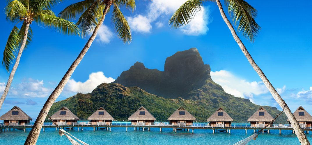 Looking out over the lagoon of Bora Bora