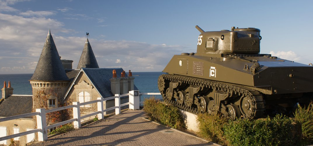 Sherman tank along the Normandy coastline